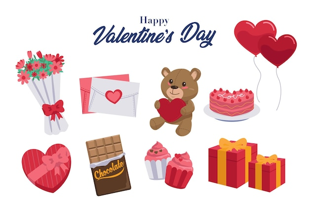 A collection of gifts that are often given during valentine's day