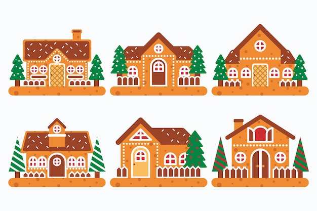 Collection of gingerbread house in flat design