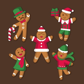 Collection of gingerbread man cookie in flat design