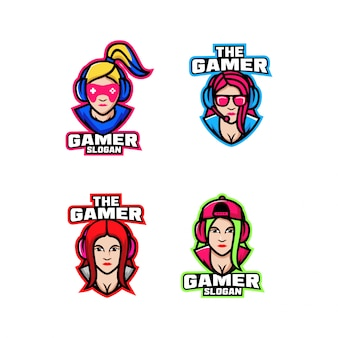 Collection of girl gamer character logo icon design cartoon