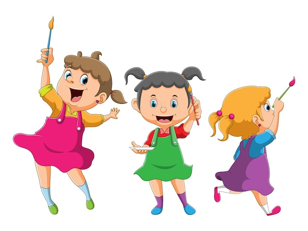 The collection of the girl holding the brush with the different position