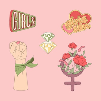 Collection of girl power vectors