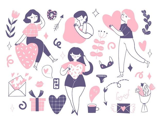 Collection of girl's stickers with women and flowers