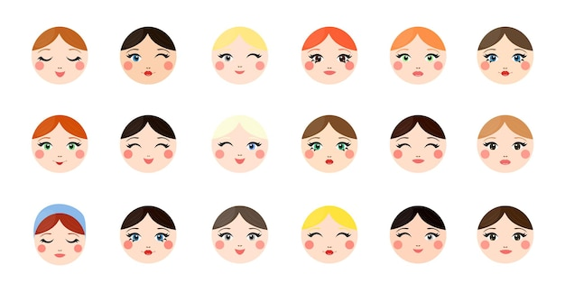 Collection of girls avatars with different emotions
