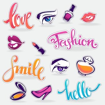 Collection of glamour fashionable patch badges