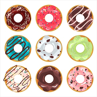 Collection of glazed colored donuts vector.