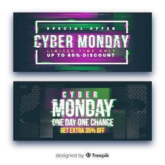 Collection of glitch cyber monday banners