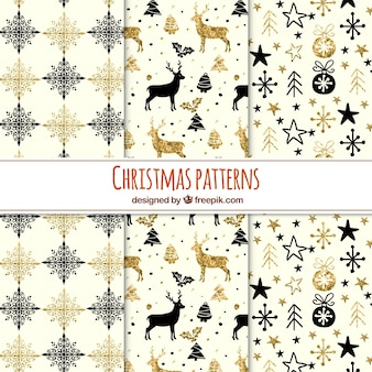Collection of glittery christmas patterns with black and golden elements
