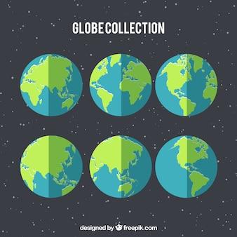 Raccolta del globo in design piatto