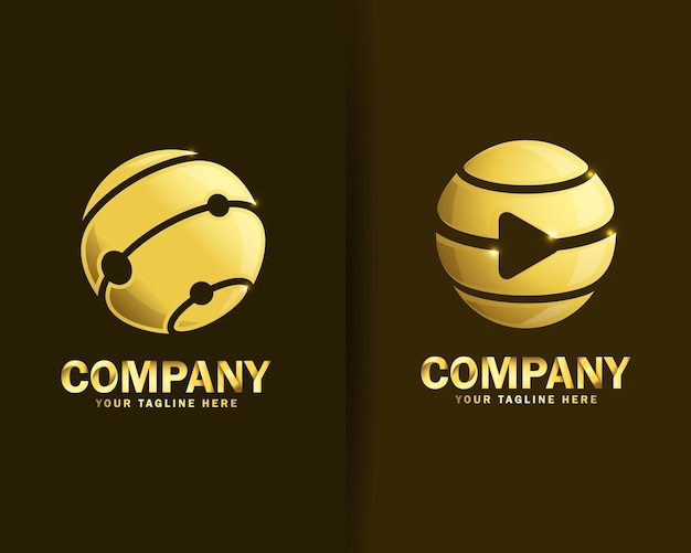 Collection of globe technology logo design templates
