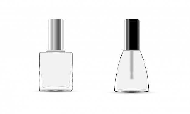 Collection glossy nail polish bottle with cap.