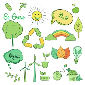 Collection of go green icons with hand drawn or doodle style