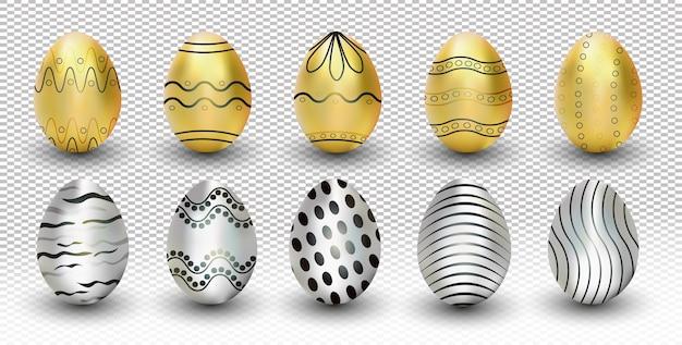 컬렉션 금색과 은색 부활절 달걀 투명 배경에 고립. 삽화