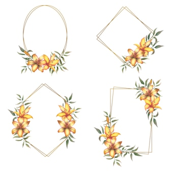 Collection of gold frames with a bouquet of watercolor lilies