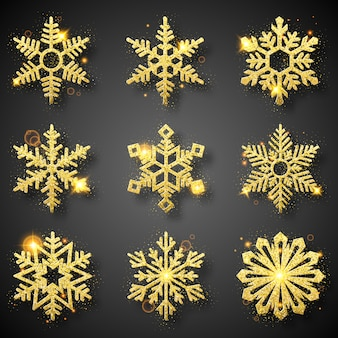 Collection of gold glitter snowflakes