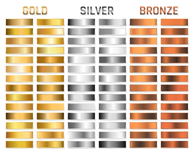 Collection of gold, silver, chrome, bronze metallic gradient. brilliant plates with gold, silver, chrome, bronze metallic effect.