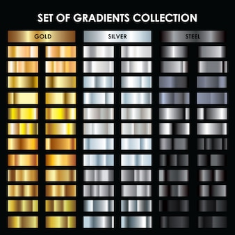 Collection gold, silver, dark silver gradient