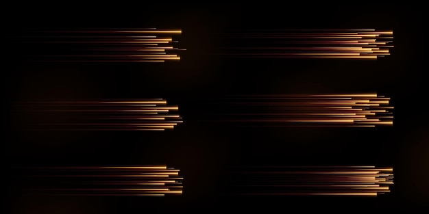 Collection of gold speed lines isolated gold light electric light light effect png