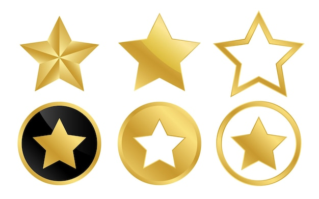 Collection of gold star golden star badge