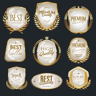 Collection of gold and white shields and labels premium choice