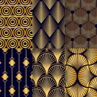 Collection of golden art deco patterns