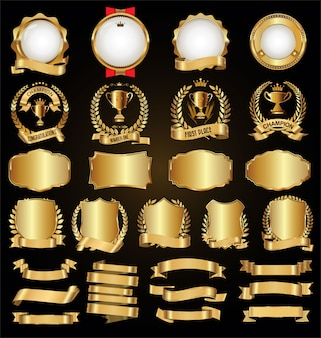 Collection of golden badges labels laurels and ribbons