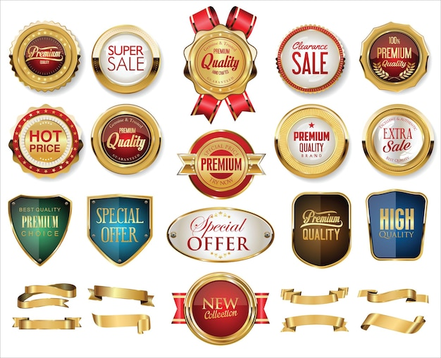 Collection of golden badges labels laurels shield and metal plates