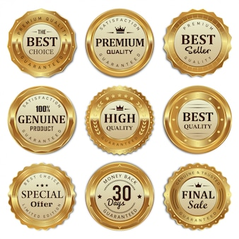 Collection of golden badges and labels quality product