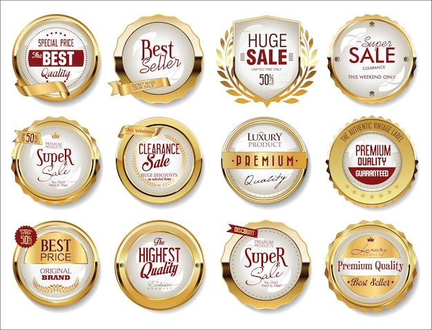 Collection of golden badges labels and tags