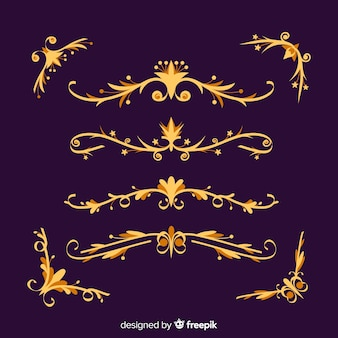 Collection of golden border ornaments