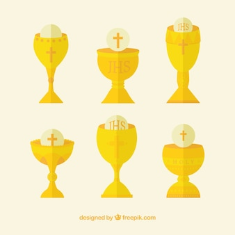 Collection of golden chalices