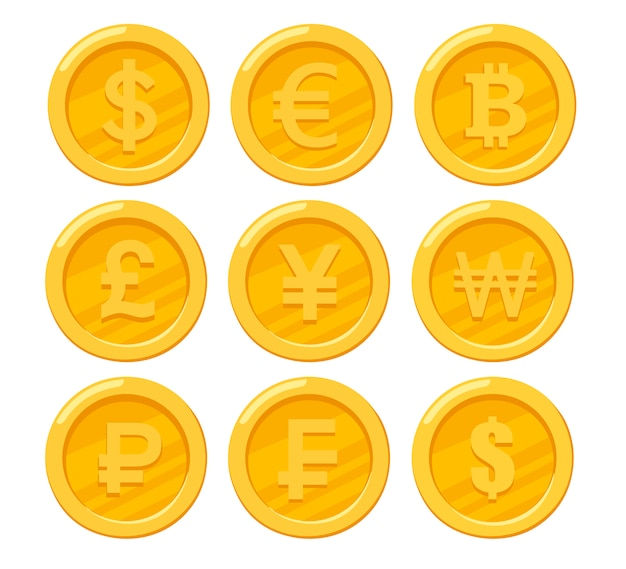 Collection of golden coins. dollar, euro, ruble, bitcoin, yen. nine coin icons.   illustration  on white background
