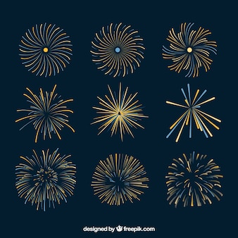 Collection of golden fireworks