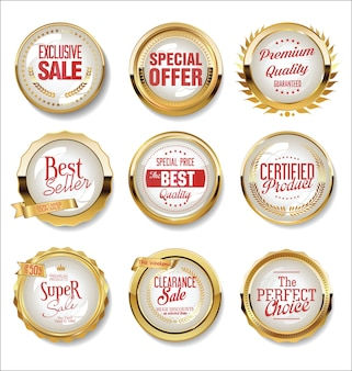 Collection of golden flat shields badges and labels retro style