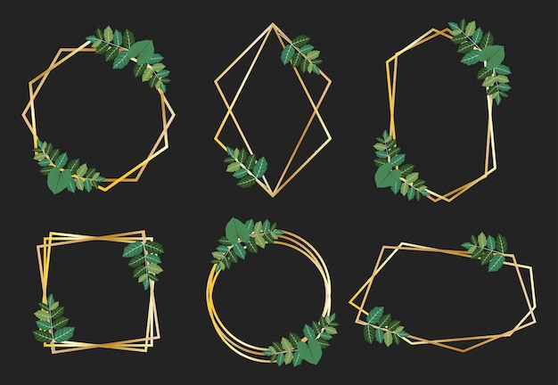 Collection of golden frames with green leaves design vector set