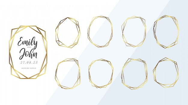Collection of golden geometrical frame.