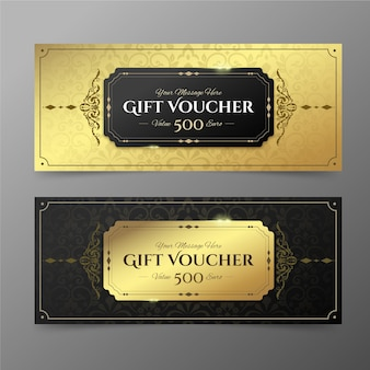 Collection of golden gift vouchers template