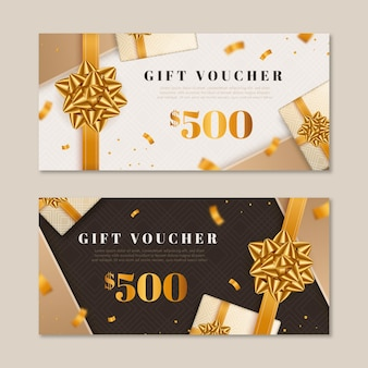 Collection of golden gift vouchers