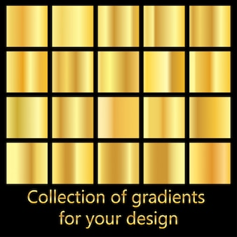 Collection of golden gradient backgrounds. set of metallic textures.