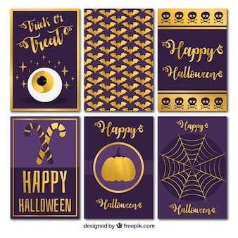 Collection of golden halloween cards