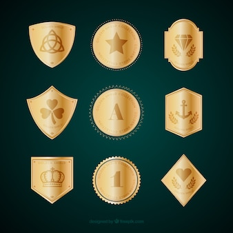 Collection of golden insignia