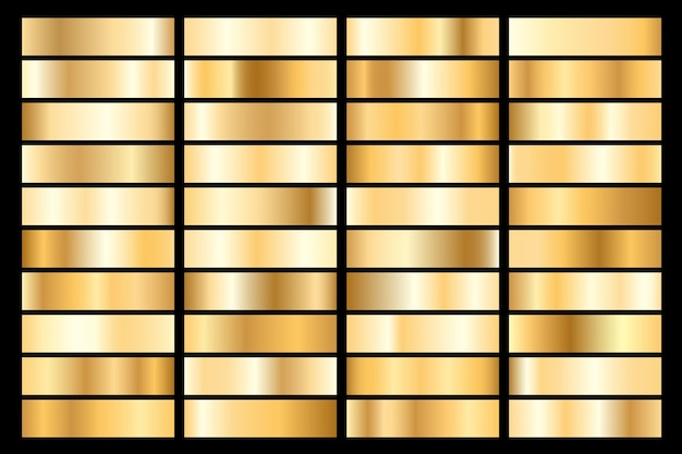 Collection of golden metallic gradient. brilliant plates with gold effect.