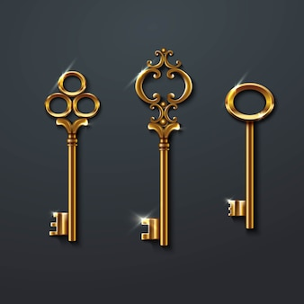 Collection of golden old vintage keys.