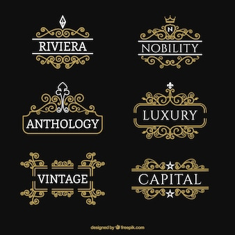 Collection of golden ornamental logos