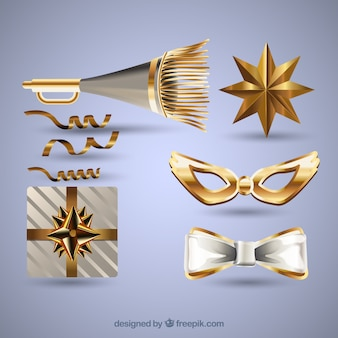 Collection of golden party elements for new year