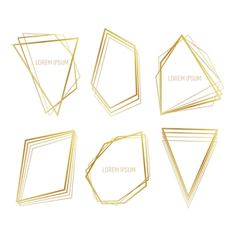 Collection of golden polygonal frame