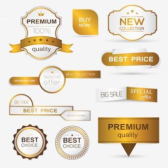 Collection of golden premium promo seals/stickers.