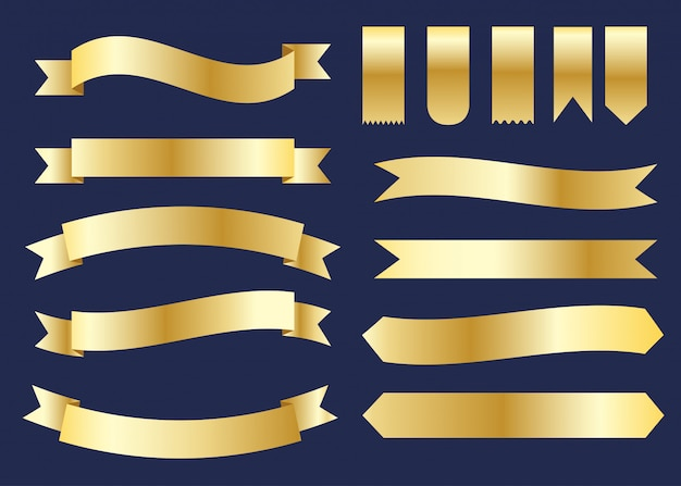 Collection of golden ribbons banner set