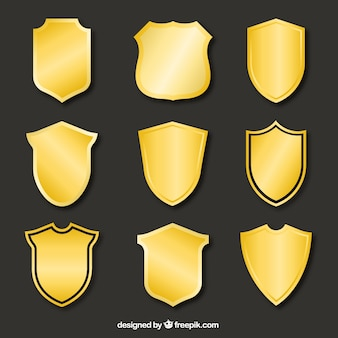 Collection of golden shields