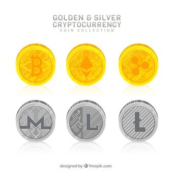 Collezione di monete di criptovaluta d'oro e d'argento